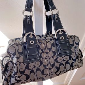 Coach Soho Signature Satchel Black/White
